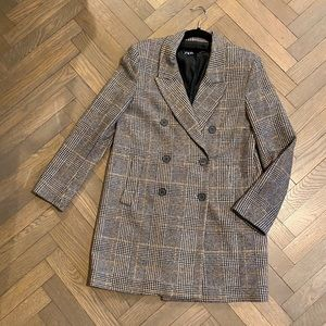 Zara Grey & Tan Plaid Coat